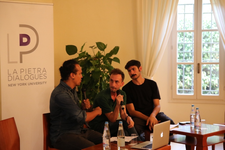 Speakers from left: Justin Randolph Thompson, Fabrizio Ajello, Christian Costa. Randolph Thompson is an artist and NYU Florence professor. Ajello and Costa are creators of Spazi Docili, a public art project in Florence.