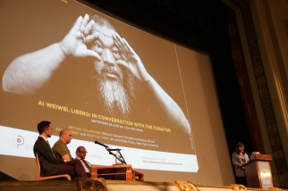 Speakers at Odeon Cinema. From Left: Hentyle Yapp, Pato Hebert, Arturo Galansino. At Podium: Ellyn Toscano. Yapp and Herbert are Art and Public Policy professors at NYU. Galansino is the Director General of Fondazione Palazzo Strozzi. Toscano is the director of NYU Florence.